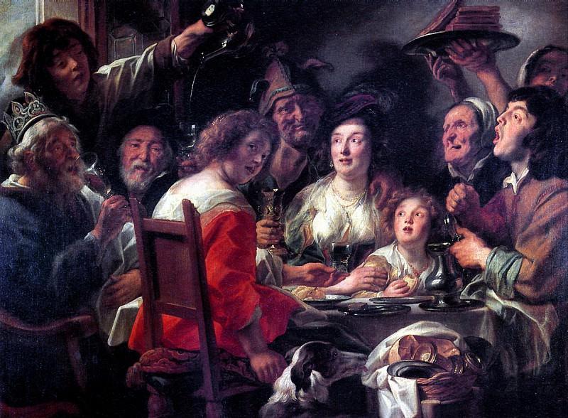 ЙОРДАНС ЯКОБ - Бобовый король; Празднование дня благословения.. Louvre (Paris)