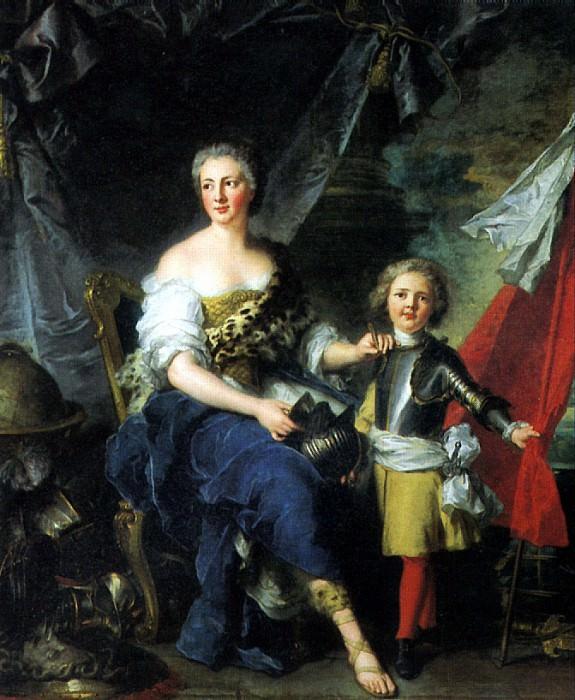 НАТЬЕ ЖАН МАРК - Мадемуазель де Ламбес в виде Минервы, одевающая доспехи своему брату графу де Брион и наставляющая его военному искусству, 1732.. Louvre (Paris)