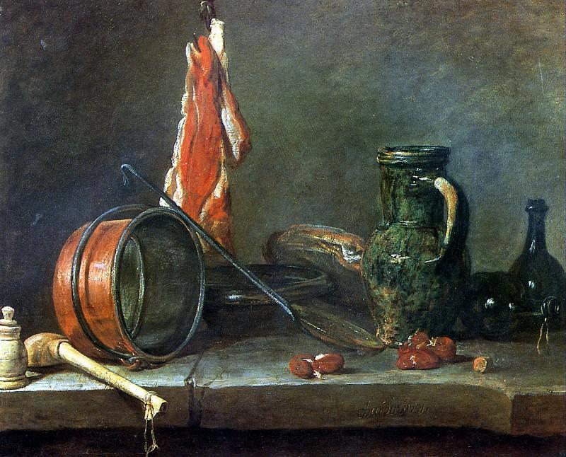 "ШАРДЕН ЖАН БАТИСТ СИМЕОН - ""Скудная диета с кухонной посудой, 1731.. Louvre (Paris)"
