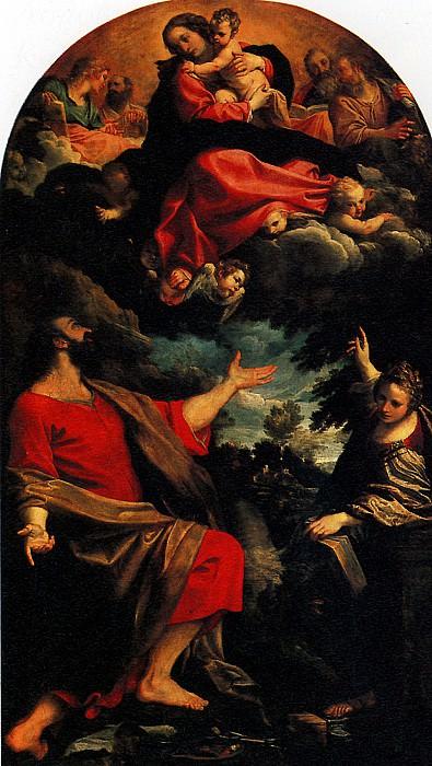 КАРРАЧЧИ АННИБАЛЕ - Мадонна, являющаяся св. Луке и св. Екатерине, 1592.. Louvre (Paris)