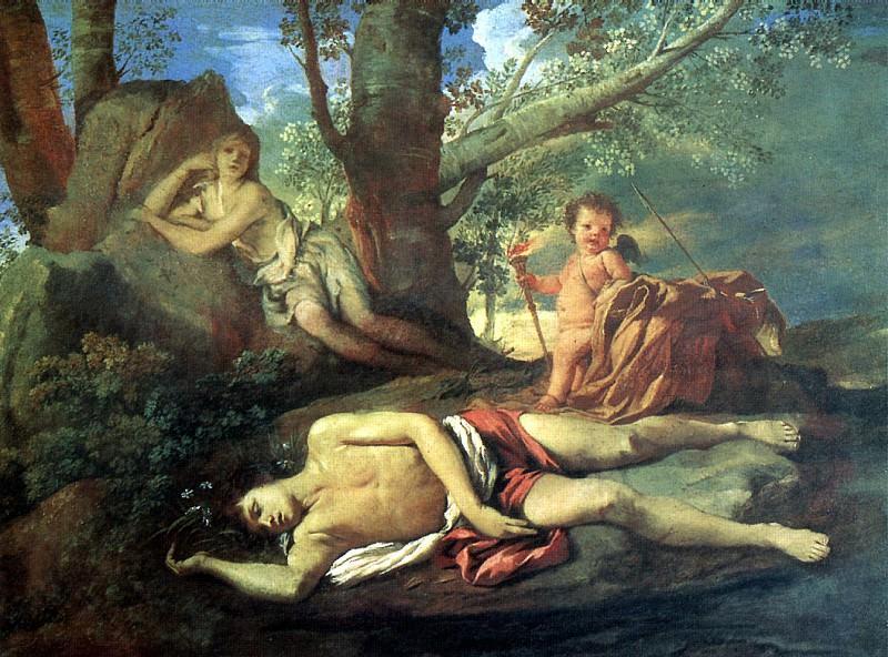 ПУССЕН НИКОЛА - Нарцисс и Эхо.. Лувр (Париж)