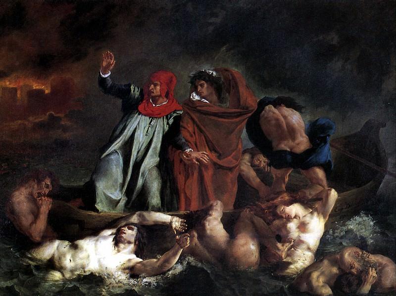 ДЕЛАКРУА ЭЖЕН - Данте и Вергилий, или Ладья Данте, 1822.. Лувр (Париж)