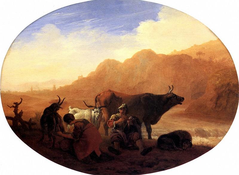 БАМБОЧЧО - Пастухи в гористом пейзаже.. Louvre (Paris)