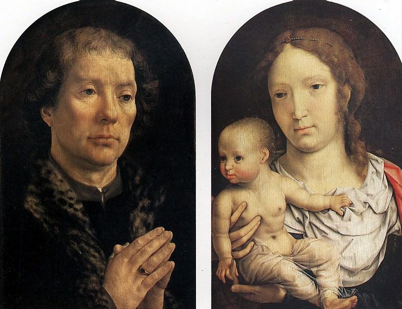 ГОССАРТ ЯН, ПРОЗВАННЫЙ МАБЮЗЕ - Диптих Каронделе: Ян Каронделе (слева) и Мадонна с младенцем (справа), 1517.. Louvre (Paris)