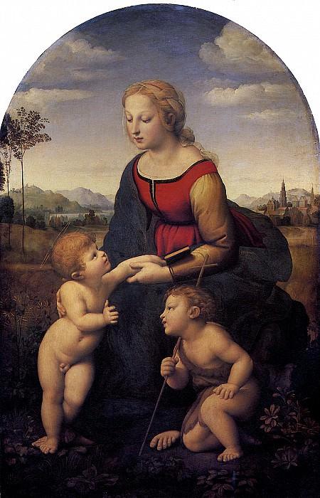 РАФАЭЛЬ - Прекрасная садовница (Мадонна с младенцем и св. Иоанном Крестителем в пейзаже), 1507.. Louvre (Paris)