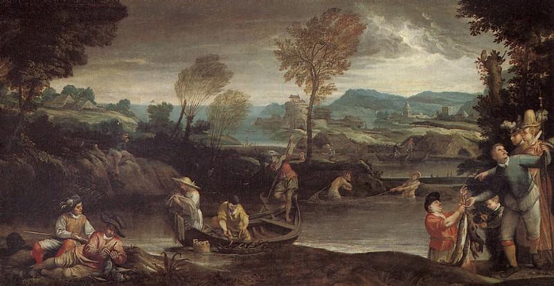 КАРРАЧЧИ АННИБАЛЕ - Ловля рыбы.. Louvre (Paris)