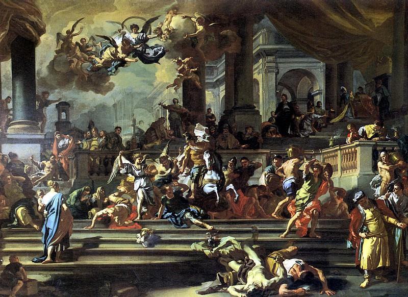 СОЛИМЕНА ФРАНЧЕСКО - Гелиодор, изгоняемый из храма, 1725.. Лувр (Париж)