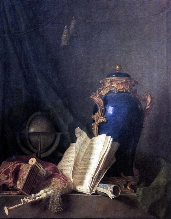ДЕЛАПОРТ АНРИ ОРАС РОЛАН - Натюрморт с лазуритовой вазой, глобусом и волынкой.. Louvre (Paris)