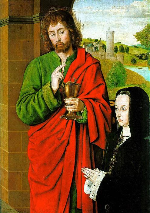 ХЭЙ ЖАН - Анна Французская, герцогиня Бурбонская со святым патроном Иоанном Евангелистом.. Louvre (Paris)