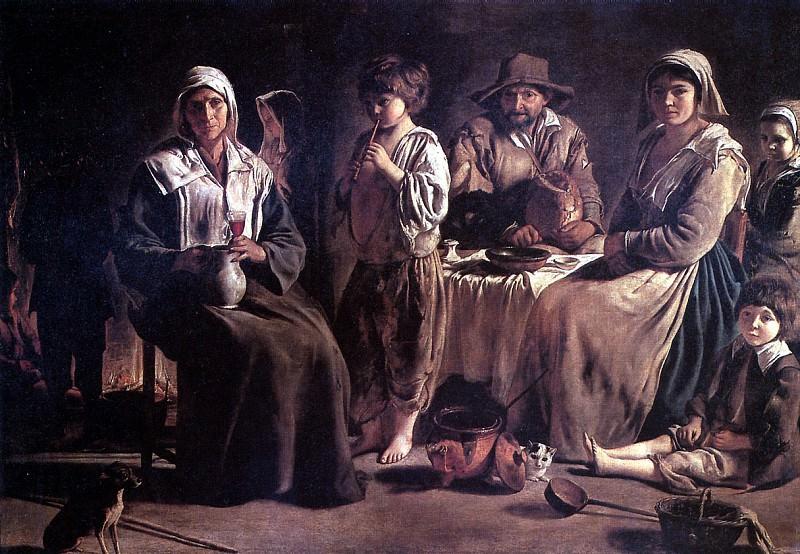 ЛЕНЕН ЛУИ - Крестьянская семья в интерьере.. Лувр (Париж)