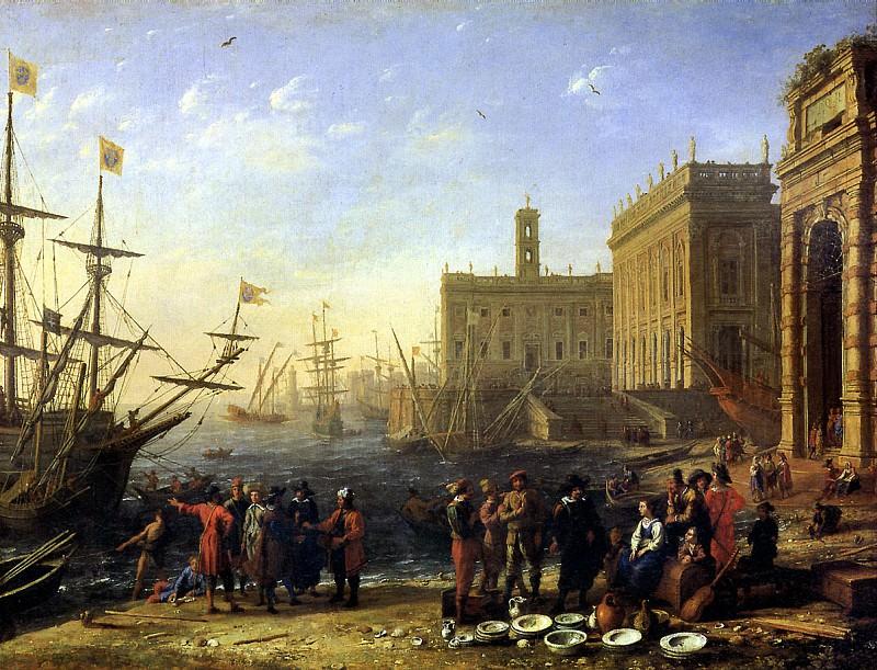 ЛОРРЕН - Вид гавани с Капитолием, 1636 ?. Louvre (Paris)