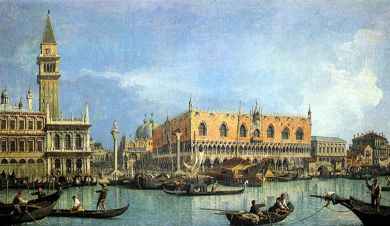 КАНАЛЬ ДЖОВАННИ АНТОНИО, ПРОЗВАННЫЙ КАНАЛЕТТО - Вид на собор св. Марка и Дворец дожей в Венеции.. Louvre (Paris)