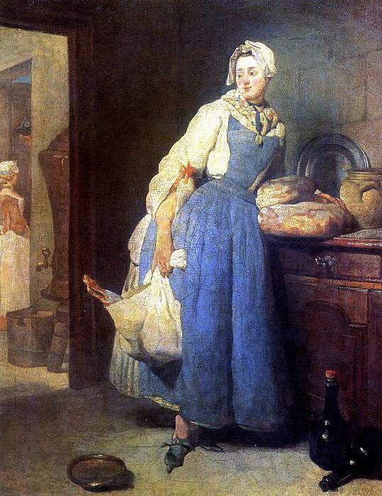 ШАРДЕН ЖАН БАТИСТ СИМЕОН - Разносчица (Возвращение с рынка), 1739.. Louvre (Paris)