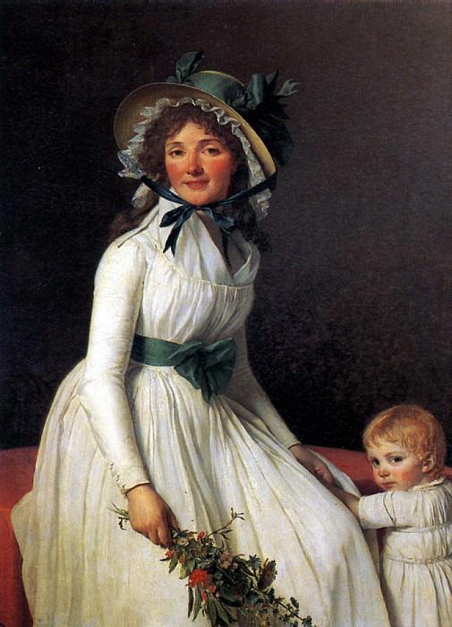 ДАВИД ЖАК ЛУИ - Эмилия Сериза, урожденная Пекуль, с сыном Эмилем, родившимся в 1793 г.. Louvre (Paris)