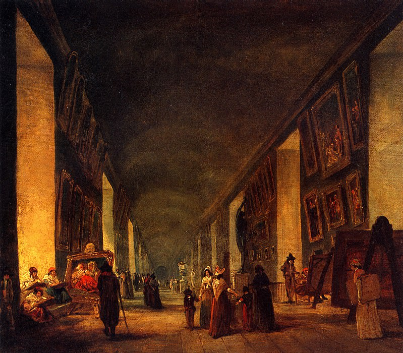 РОБЕР ЮБЕР - Большая галерея Лувра между 1794-1796 гг.. Louvre (Paris)