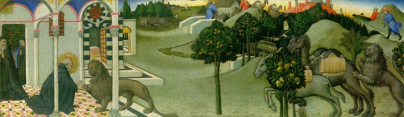 Сано ди Пьетро - История св. Иеронима и льва. Louvre (Paris)