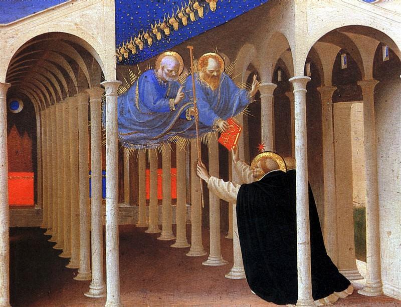 ФРА АНЖЕЛИКО - Святые Петр и Павел являются св. Доминику.. Louvre (Paris)