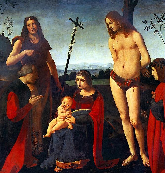 БОЛЬТРАФФИО ДЖОВАННИ АНТОНИО - Мадонна с младенцем, святыми Иоанном Крестителем и Себастьяном и двумя донаторами.. Louvre (Paris)