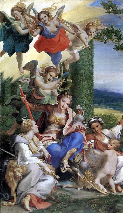 АЛЛЕГРИ АНТОНИО, ПРОЗВАННЫЙ КОРРЕДЖО - Аллегория Добродетелей, 1529-1530.. Louvre (Paris)
