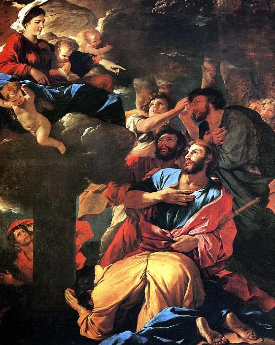ПУССЕН НИКОЛА - Мадонна, являющаяся св. Иакову Старшему.. Louvre (Paris)