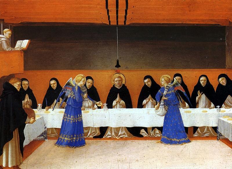 ФРА АНЖЕЛИКО - Ангелы подают пищу монахам.. Louvre (Paris)