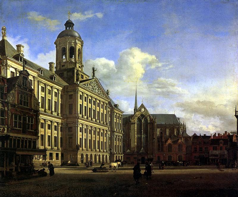 ВАН ДЕР ХЕЙДЕН ЯН - Собор и новая городская ратуша в Амстердаме, 1668.. Louvre (Paris)