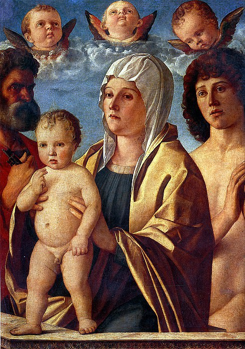 БЕЛЛИНИ ДЖОВАННИ - Мадонна с младенцем и со святыми Петром и Себастьяном.. Louvre (Paris)