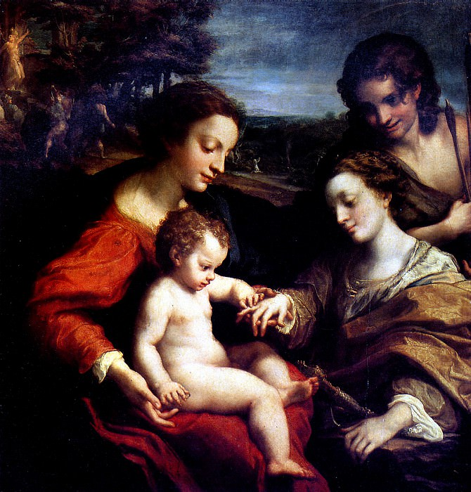 КОРРЕДЖО - Обручение св. Екатерины в присутствии св. Себастьяна и с мученичеством двух святых, ок. 1526-1527.. Louvre (Paris)