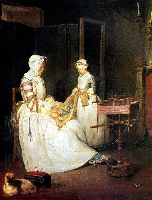 ШАРДЕН ЖАН БАТИСТ СИМЕОН - Трудолюбивая мать.. Louvre (Paris)
