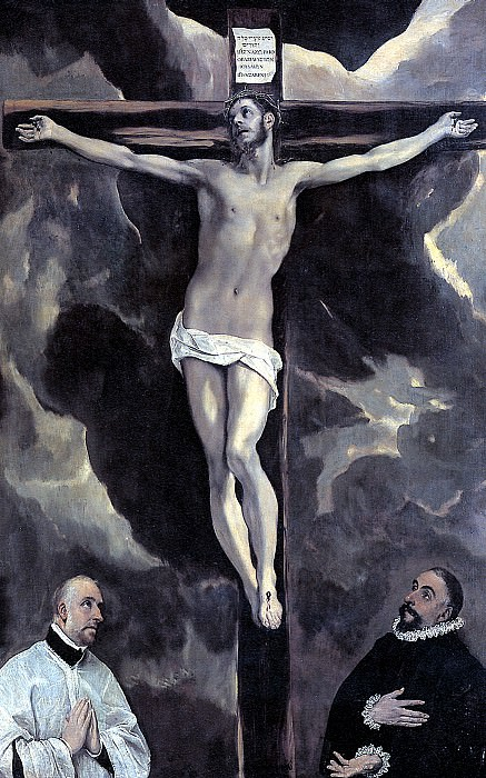 ЭЛЬ ГРЕКО - Христос на кресте и два донатора.. Louvre (Paris)