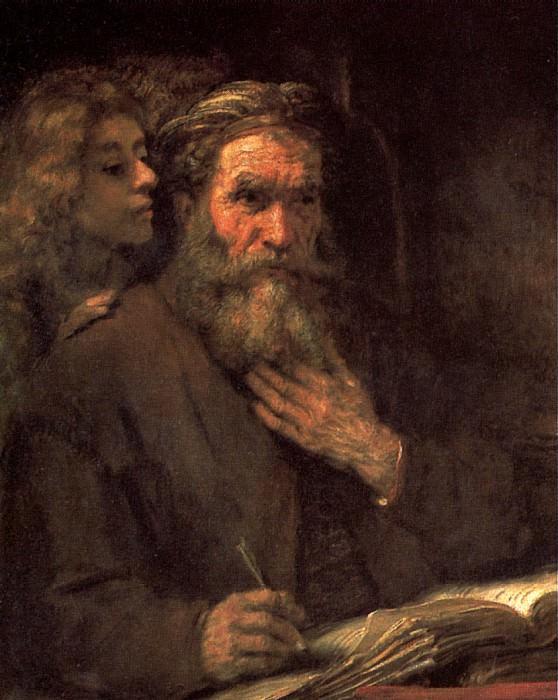 РЕМБРАНДТ - Св. Матфей и ангел, 1661.. Louvre (Paris)