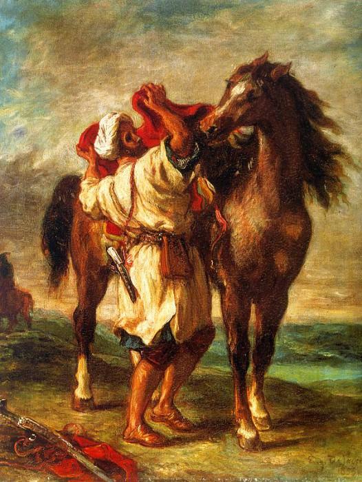 Delacroix Ferdinand Victor Eugene A Moroccan Saddling A Horse. Ferdinand Victor Eugène Delacroix