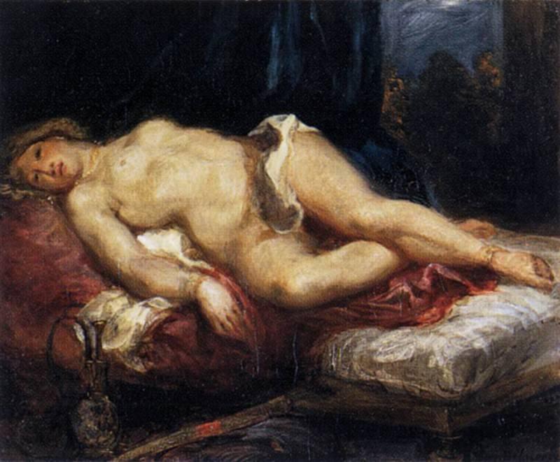 Odalisque Reclining on a Divan. Ferdinand Victor Eugène Delacroix