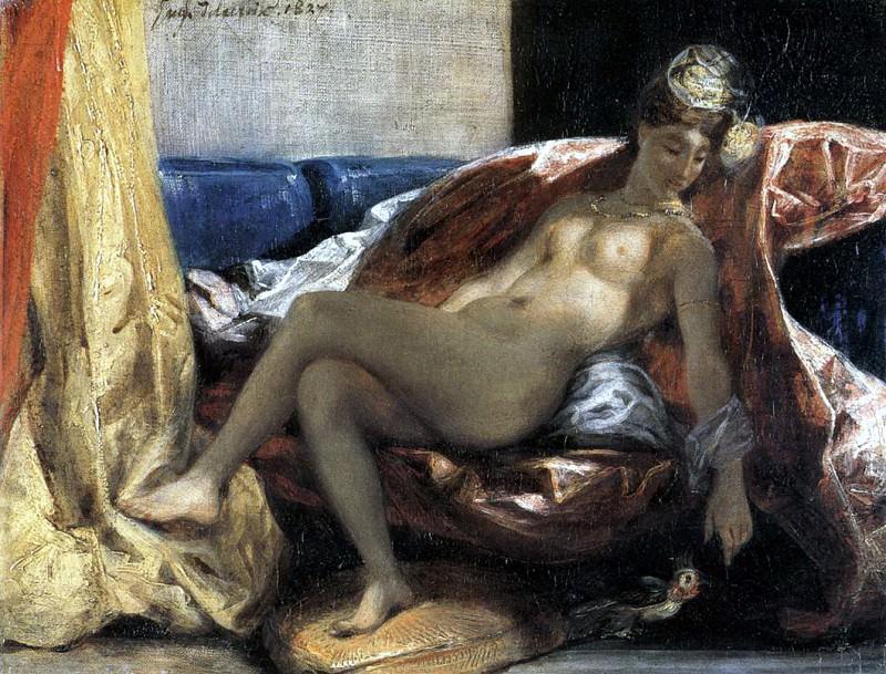 DELACROIX Eugene Woman with a Parrot. Ferdinand Victor Eugène Delacroix