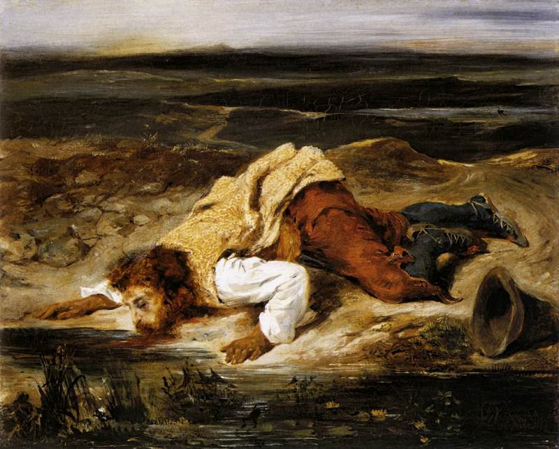 DELACROIX Eugene A Mortally WOunded Brigand Quenches His Thirst. Ferdinand Victor Eugène Delacroix
