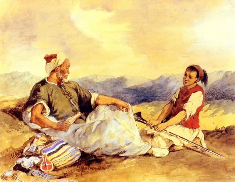 Двое марокканцев в деревне. Эжен Делакруа