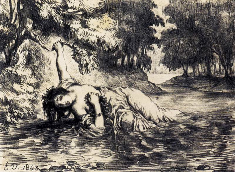 DELACROIX Eugene The Death of Ophelia. Ferdinand Victor Eugène Delacroix