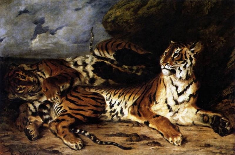 DELACROIX Eugene A Young Tiger Playing with its Mother. Ferdinand Victor Eugène Delacroix