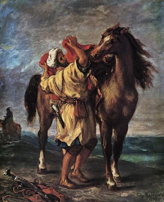 Marocan and his Horse. Ferdinand Victor Eugène Delacroix