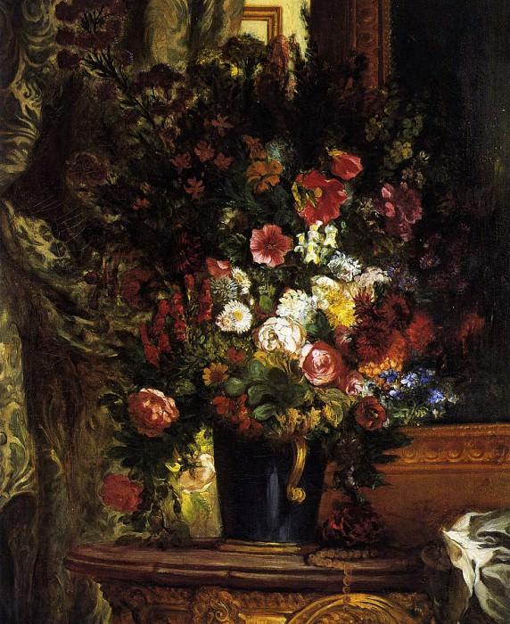 A Vase of Flowers on a Console. Ferdinand Victor Eugène Delacroix