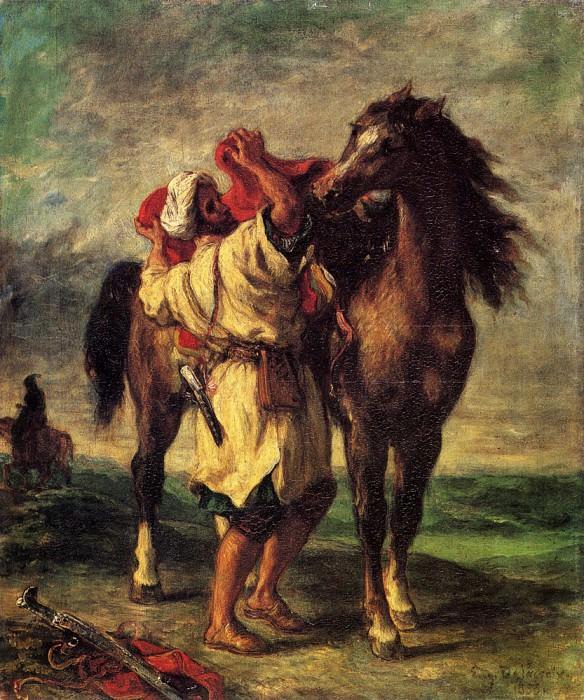 A Moroccan Saddling A Horse. Ferdinand Victor Eugène Delacroix