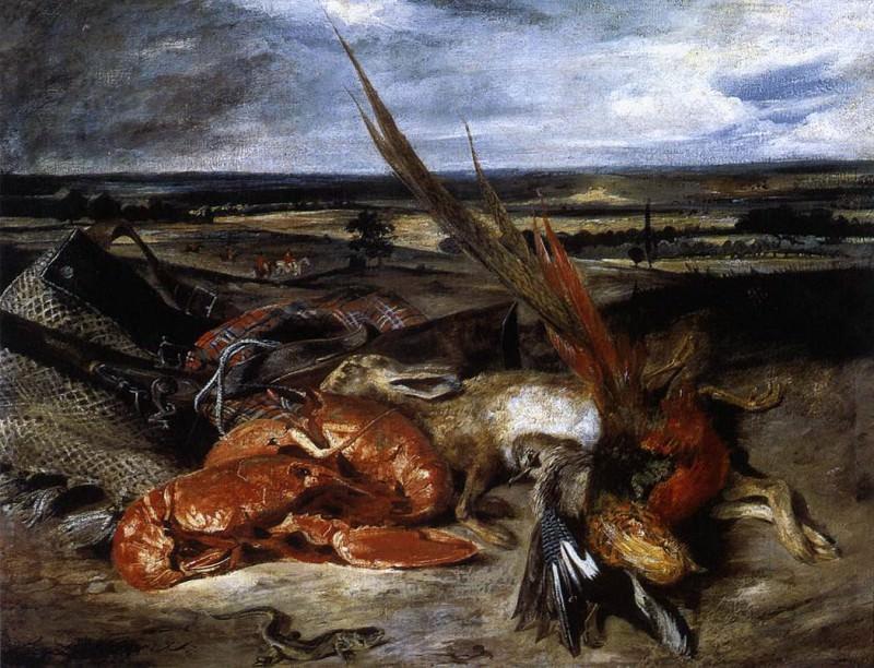 DELACROIX Eugene Still Life with Lobster. Ferdinand Victor Eugène Delacroix