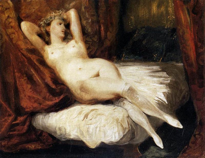 DELACROIX Eugene Female Nude Reclining on a Divan. Ferdinand Victor Eugène Delacroix