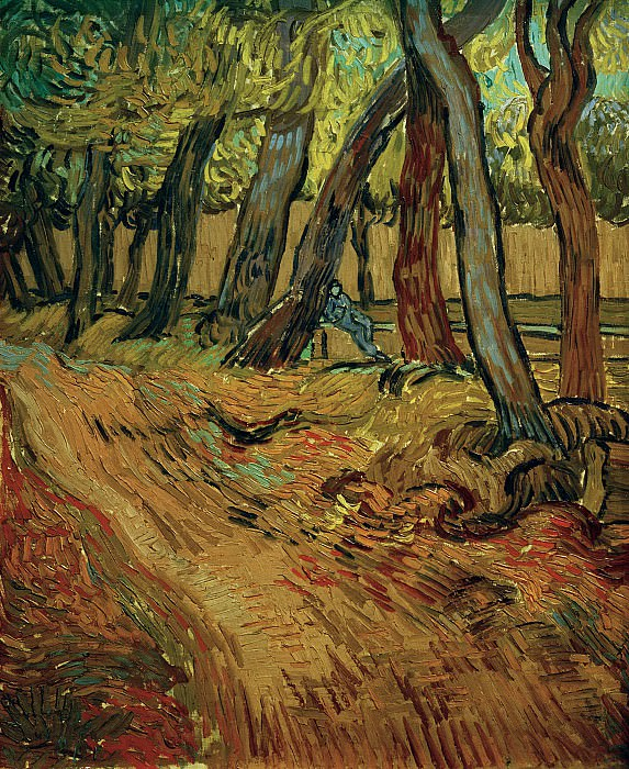 The Garden of Saint-Paul Hospital with Figure. Vincent van Gogh