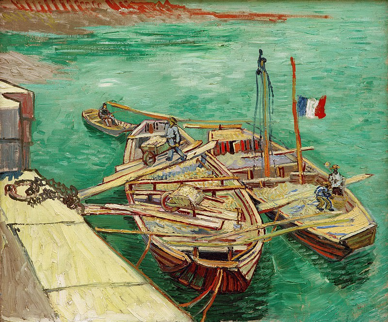 Quay with Men Unloading Sand Barges. Vincent van Gogh