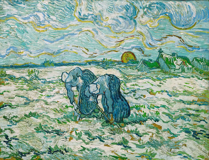 Two Peasant Women Digging in Field. Vincent van Gogh