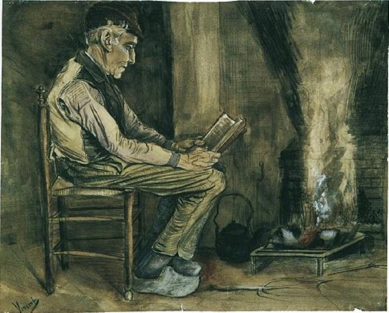 Farmer Sitting at the Fireside, Reading. Vincent van Gogh