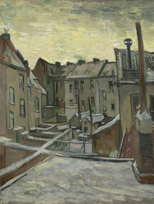 Задворки старых домов в Антверпене в снегу. Винсент Ван Гог