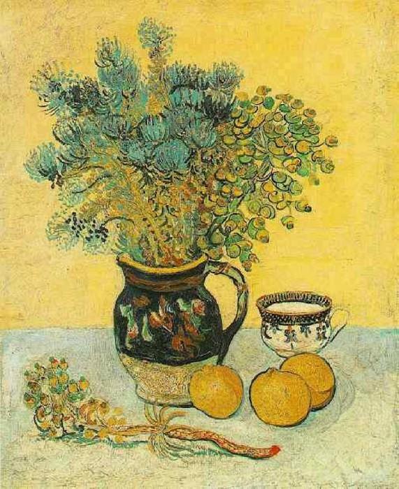 Натюрморт - майоликовый кувшин с полевыми цветвами. Винсент Ван Гог