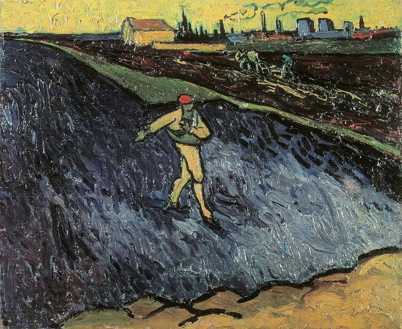 Sower - Outskirts of Arles in the Background. Vincent van Gogh